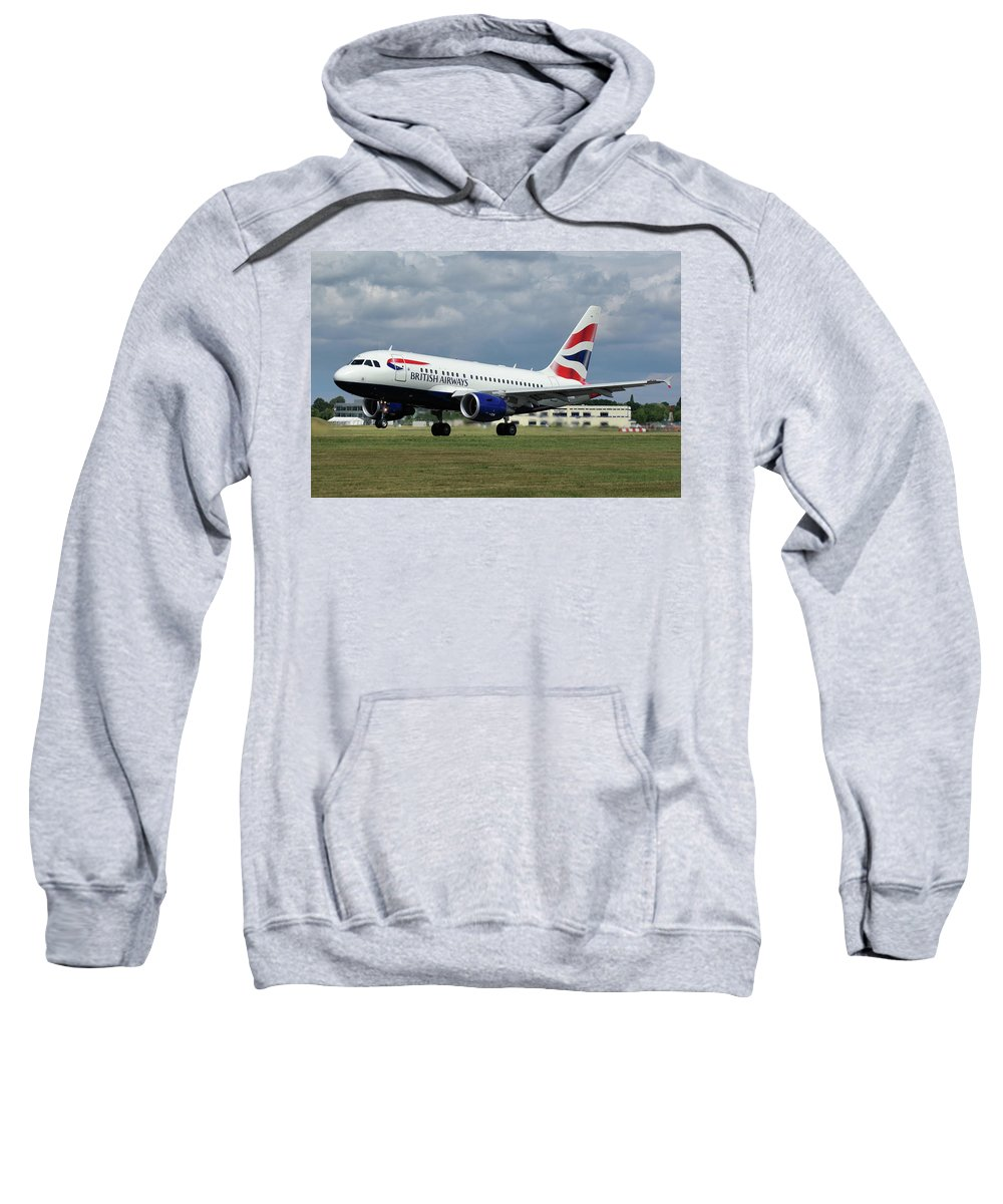 Airbus Sweatshirt featuring the photograph British Airways A318-112 G-eunb by Tim Beach