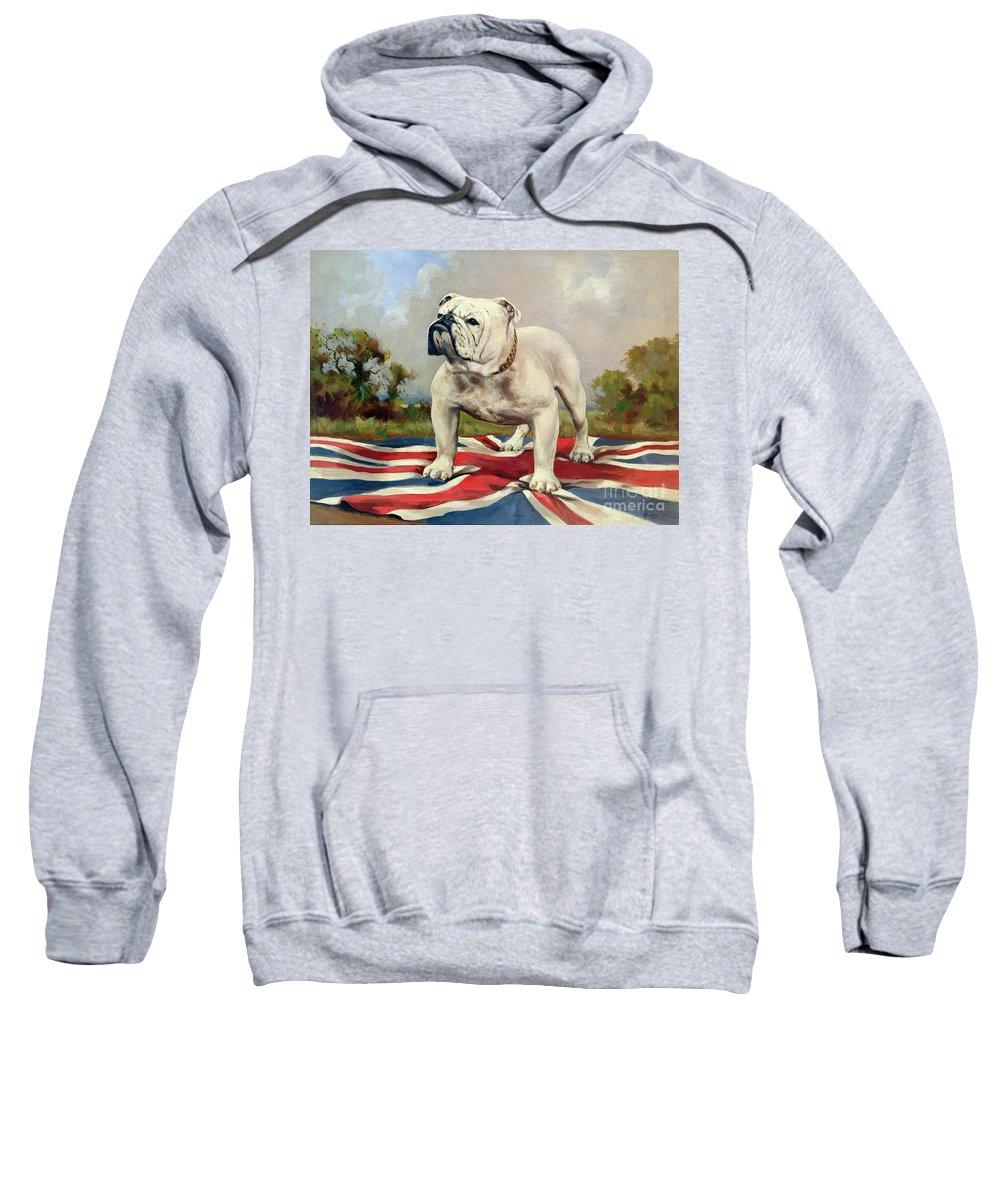 Grb; Union Jack; Dog Sweatshirt featuring the painting British Bulldog by English School