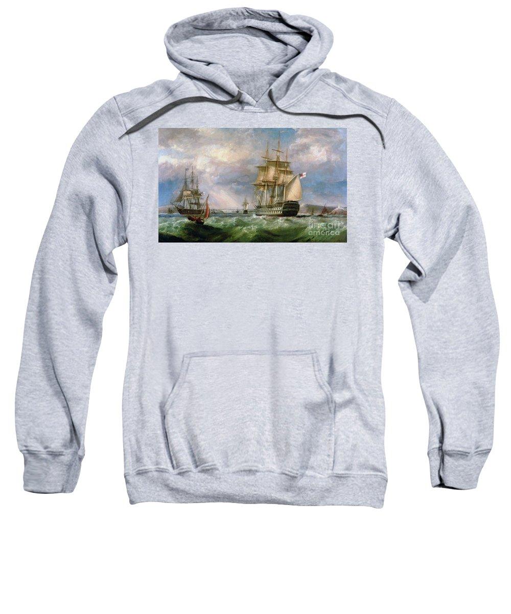 British Men-o'-war Sailing Into Cork Harbour Sweatshirt featuring the painting British Men-o'-war Sailing Into Cork Harbour by George Mounsey Wheatley Atkinson
