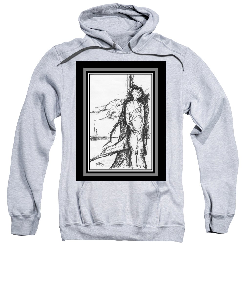 Sail Sweatshirt featuring the drawing Broken Sail by PAOLO Bianchi