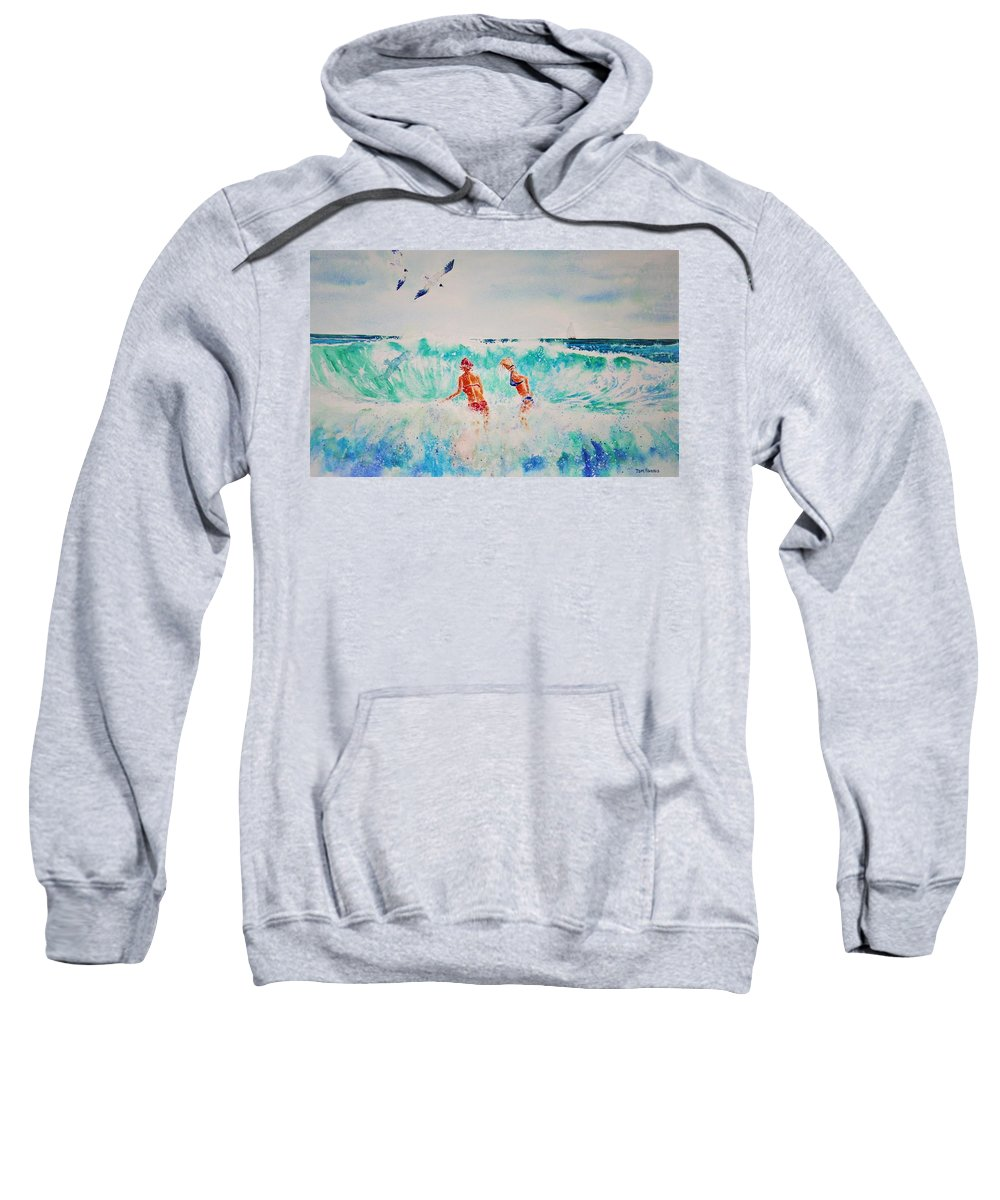 Surf Sweatshirt featuring the painting Brooke And Carey In The Shore Break by Tom Harris