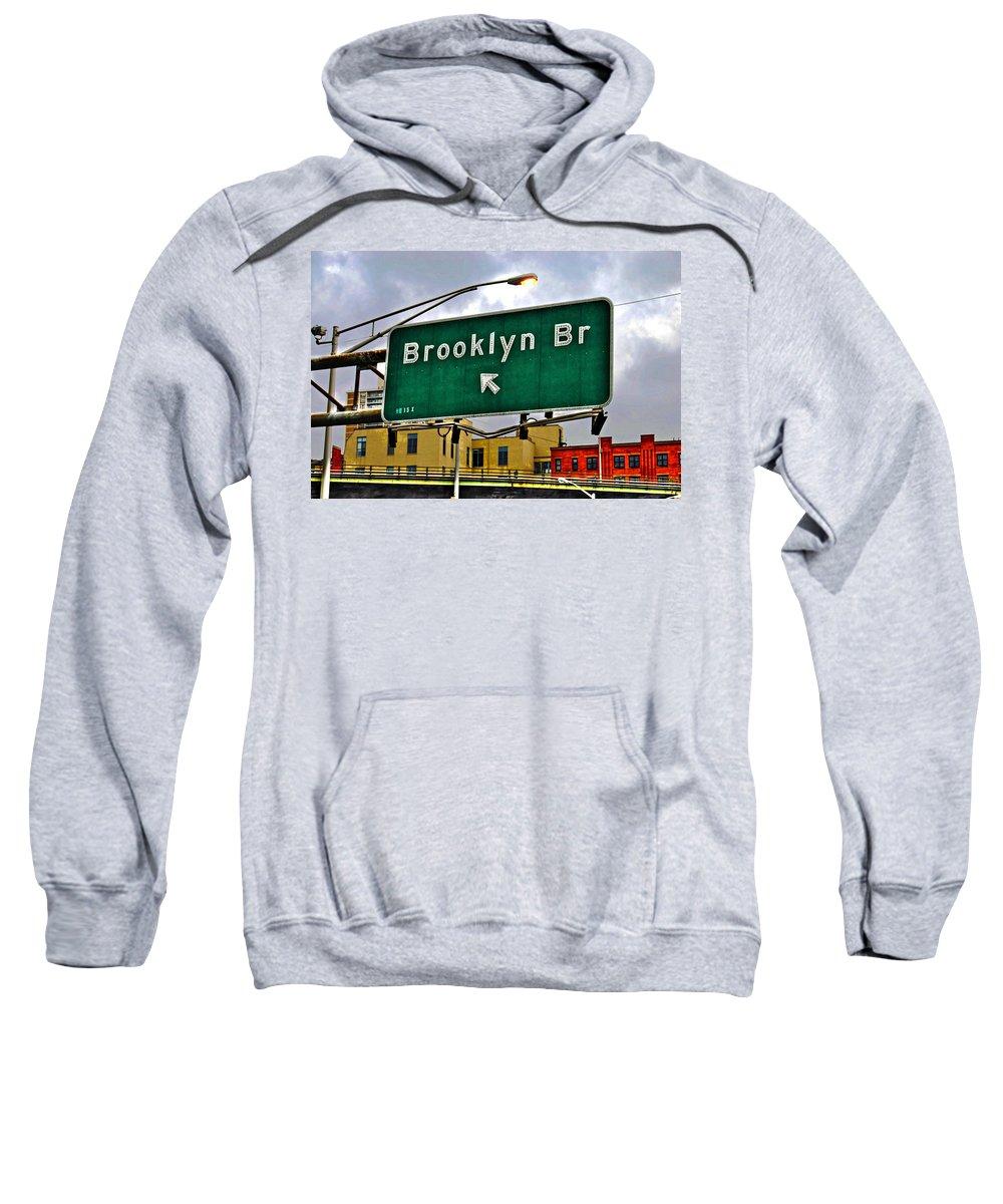 Brooklyn Sweatshirt featuring the photograph Brooklyn Bridge Thisaway by Randy Aveille