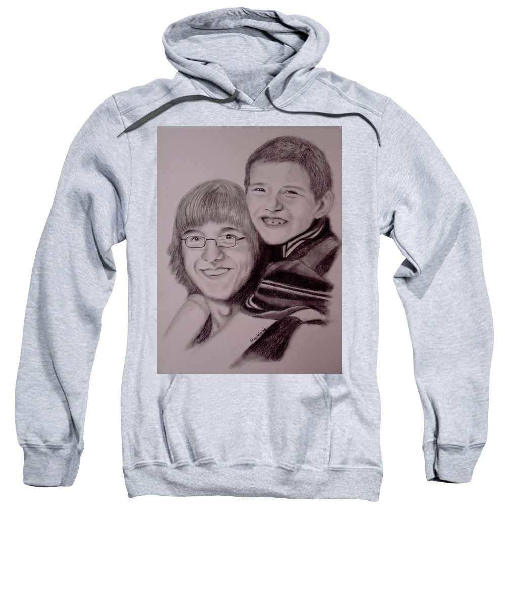 Portrait Sweatshirt featuring the drawing Brothers For Life by Glory Fraulein Wolfe