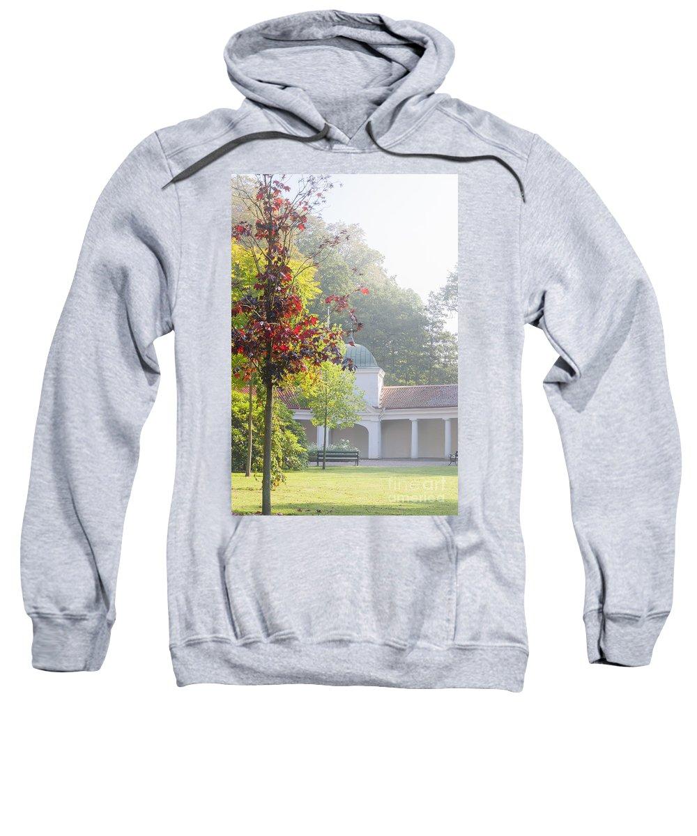 Brunnspaviljongen Sweatshirt featuring the photograph Brunnspaviljongen Misty Morning by Antony McAulay