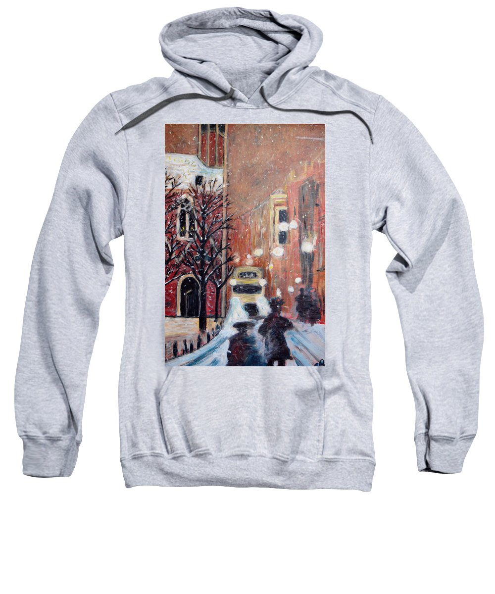 Belgium Sweatshirt featuring the painting Brussels At Night by Carolyn Donnell