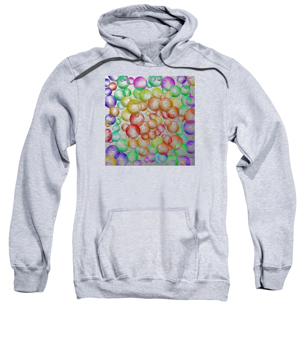 Bubbly Bouncy Blowing Bubbles Yellow Purple Brown Red Orange Green Blue Colors Good Spirits Silver Sweatshirt featuring the digital art Bubbly Bubbles 2 by Nelma Grace Higgins