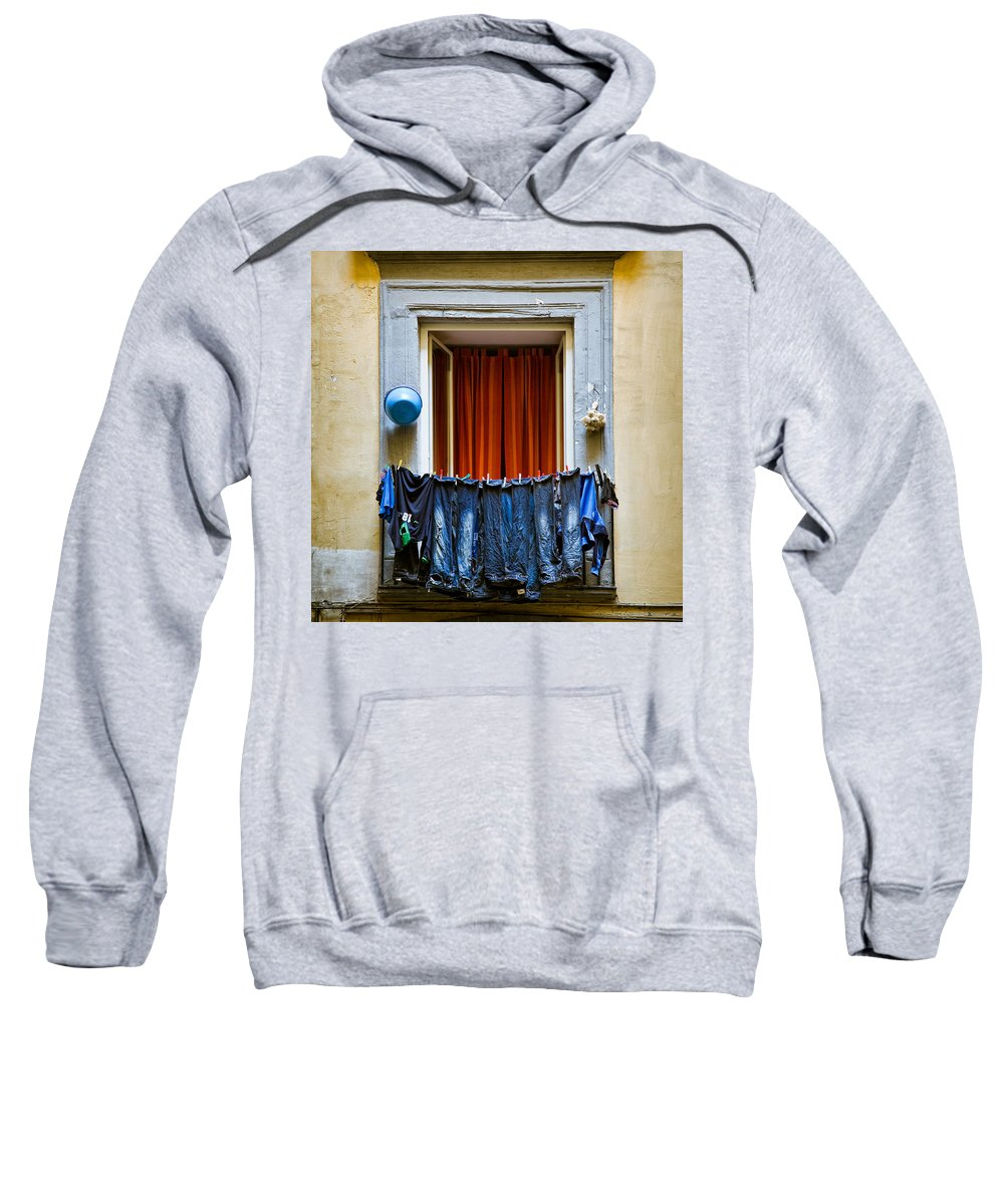 Clothes Sweatshirt featuring the photograph Bucket - Garlic And Jeans by Dave Bowman
