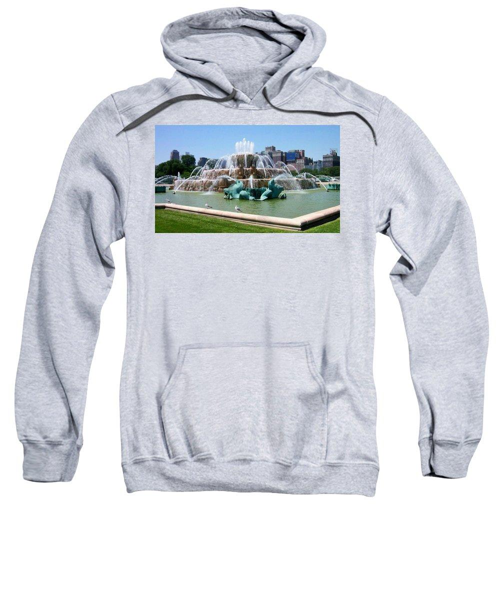 Chicago Sweatshirt featuring the photograph Buckingham Fountain by Anita Burgermeister