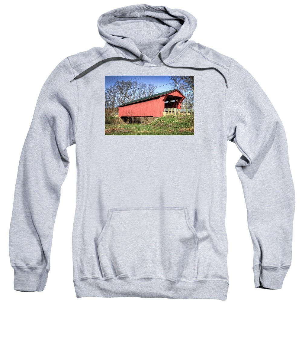 America Sweatshirt featuring the photograph Buckskin Covered Bridge by Jack R Perry