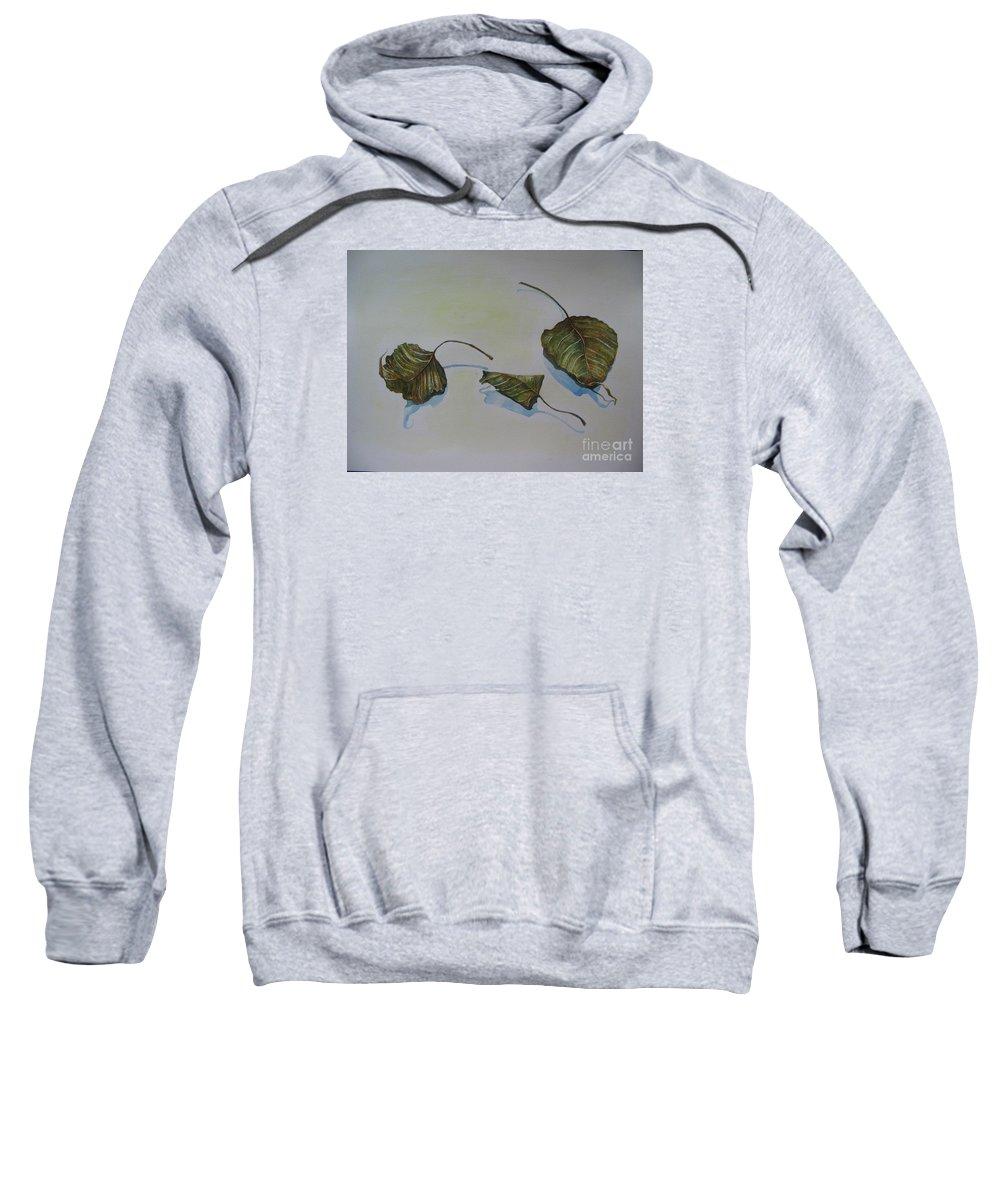 Buddha Sweatshirt featuring the painting Buddha Leaf 2 by Sukalya Chearanantana