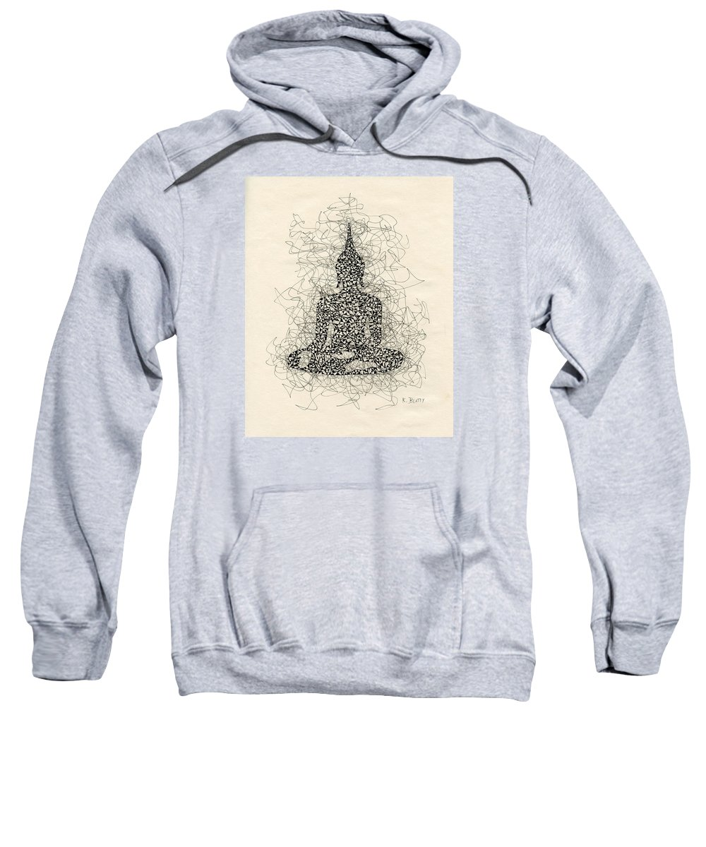 Buddha Sweatshirt featuring the drawing Buddha Pen And Ink Drawing by Karla Beatty