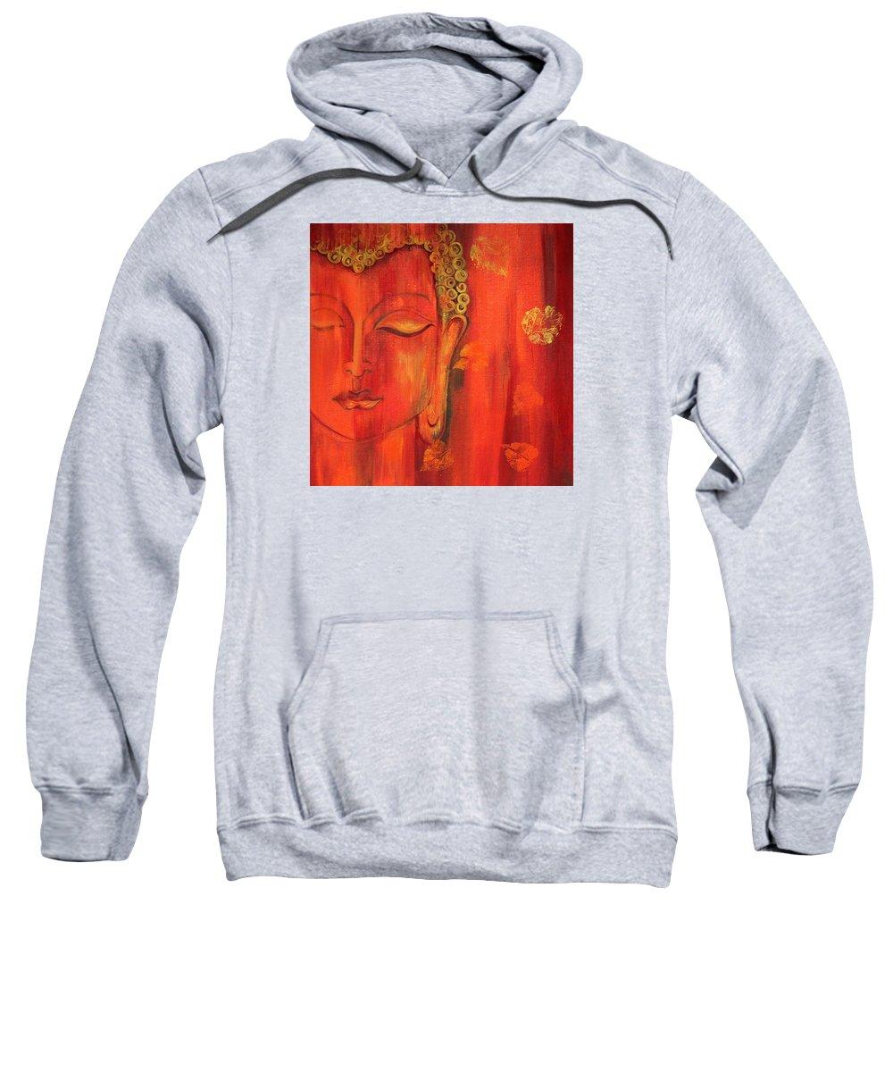 Buddha Sweatshirt featuring the painting Buddha - The Self Possession by Mrunal Limaye