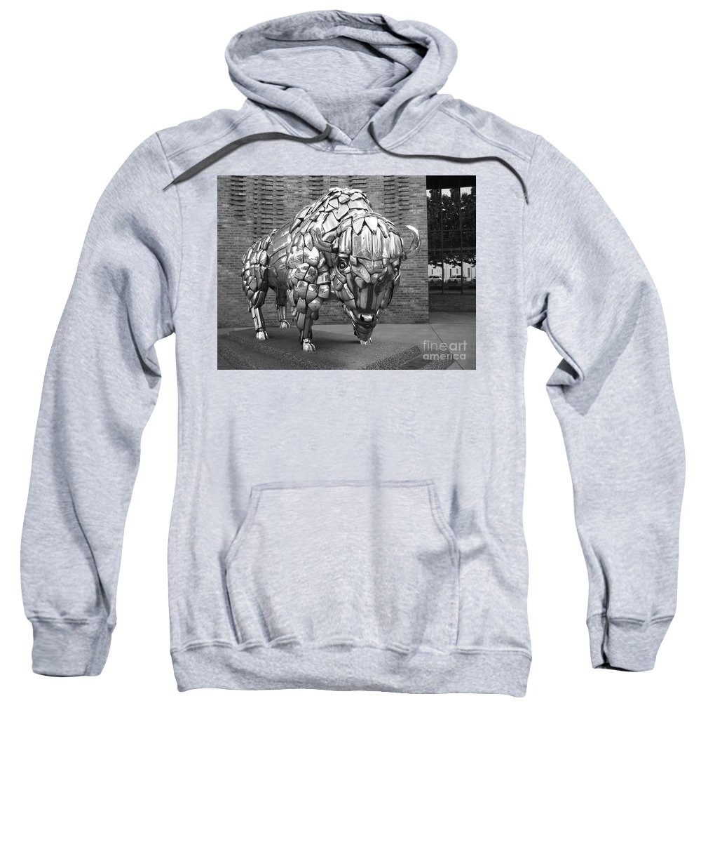 Buffalo Sculpture Sweatshirt featuring the photograph Buffalo Grand Junction Co by Tommy Anderson