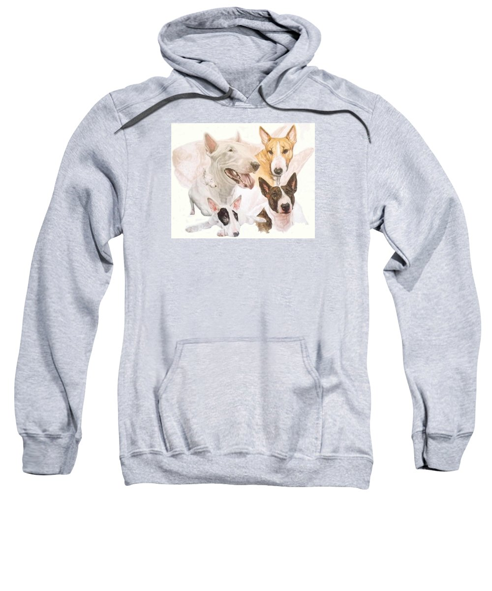 Purebred Sweatshirt featuring the mixed media Bull Terrier W/ghost by Barbara Keith