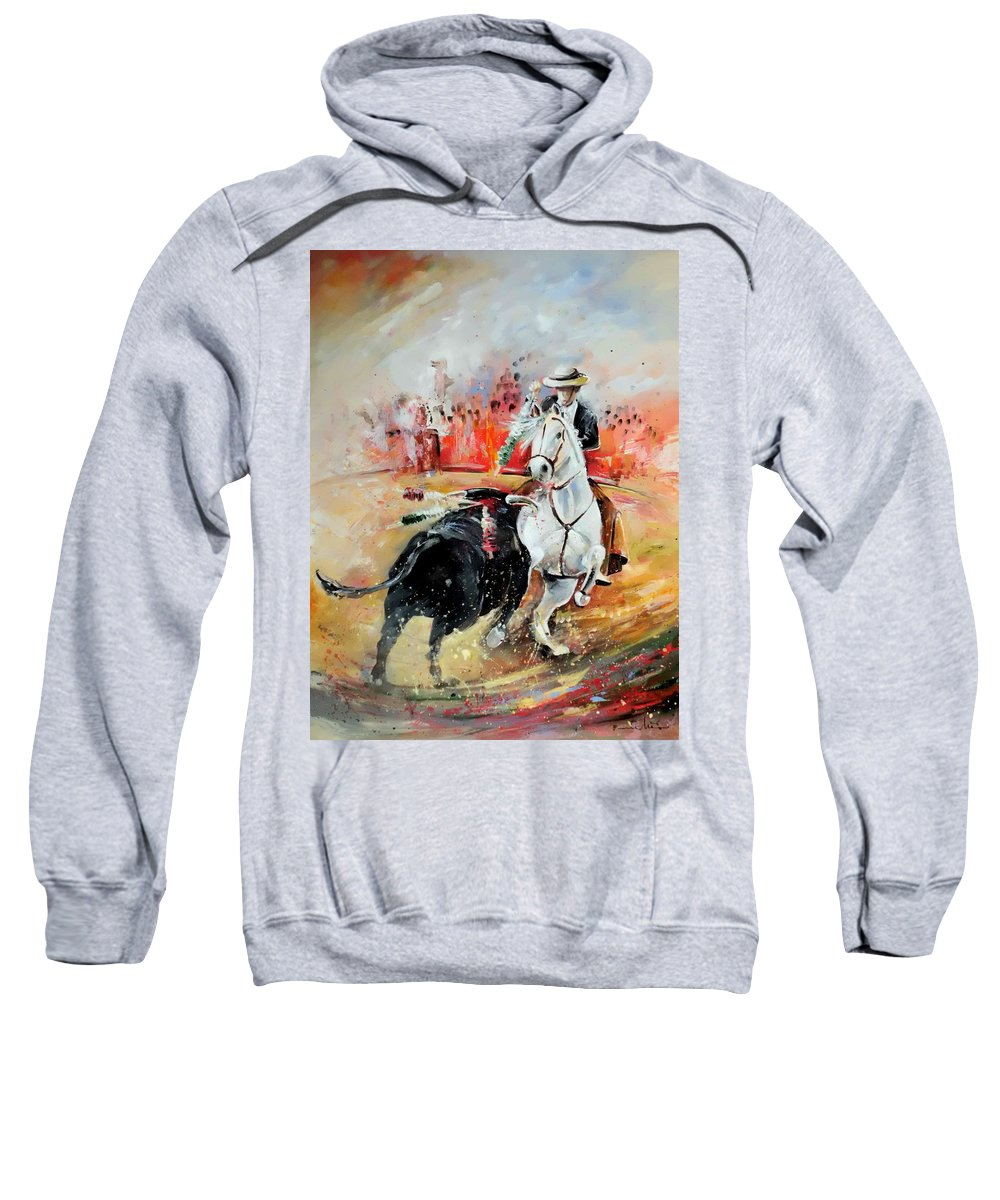 Toros Sweatshirt featuring the painting Bullfight 3 by Miki De Goodaboom