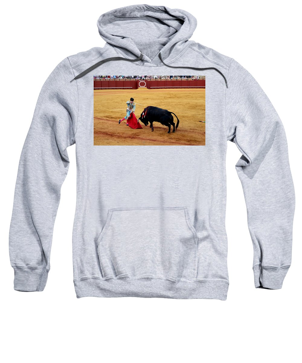 Bullfighting Sweatshirt featuring the photograph Bullfighting 21 by Andrew Fare