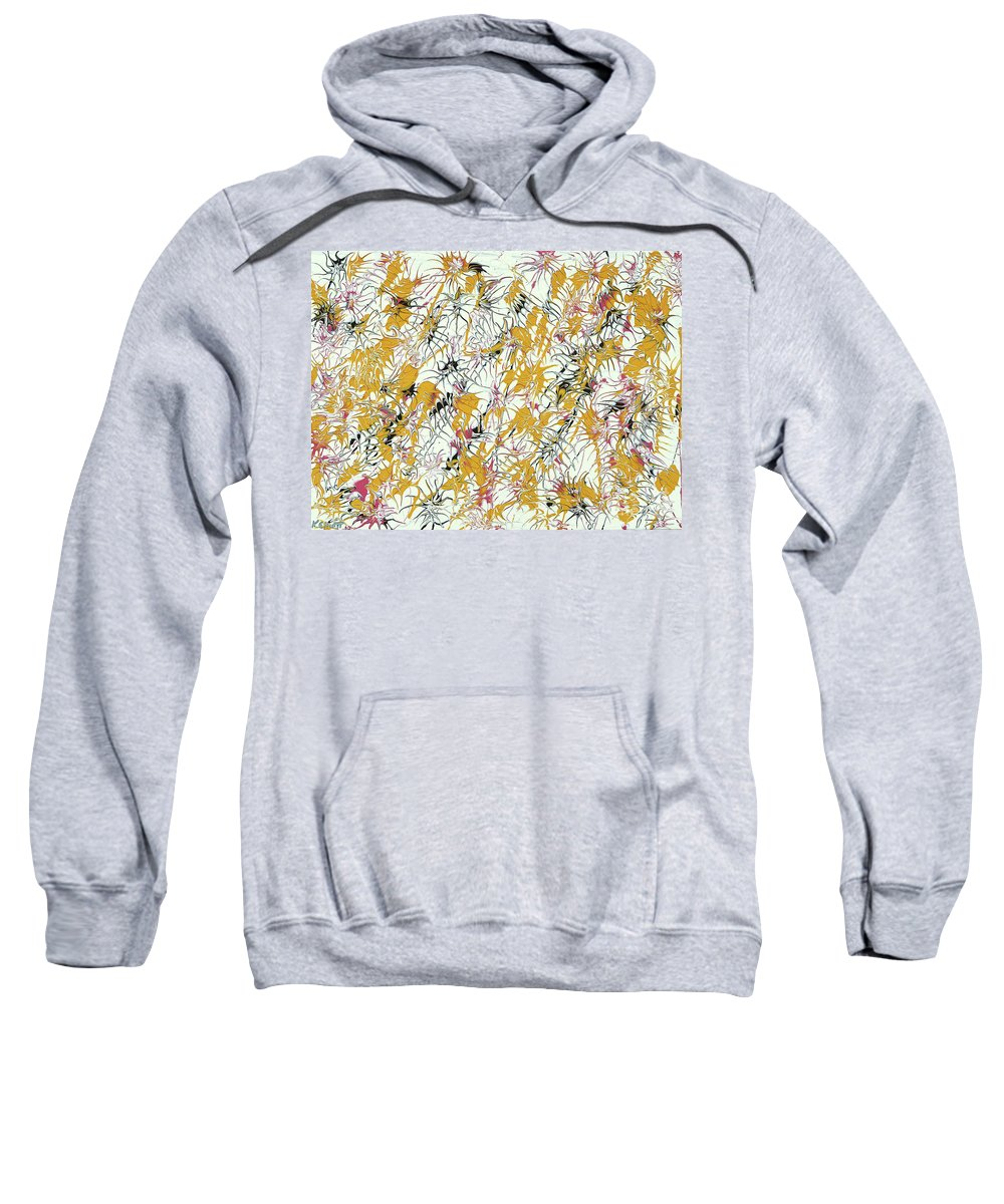 Keith Elliott Sweatshirt featuring the painting Bumble Bees Against The Windshield - V1sd92 by Keith Elliott