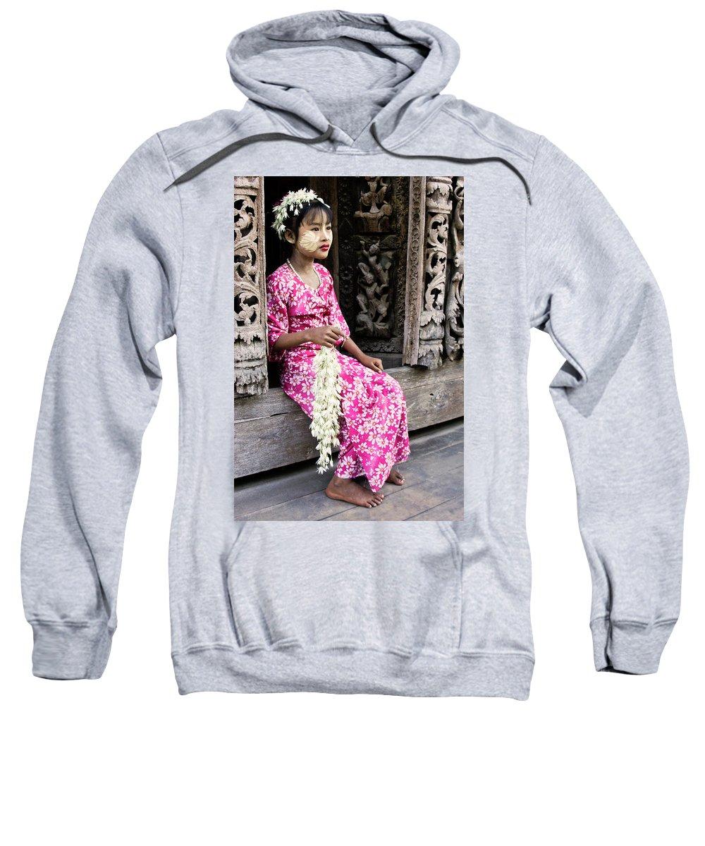 075burma's Golden Pagodaasia Sweatshirt featuring the photograph Burmese Flower Vendor by Michele Burgess