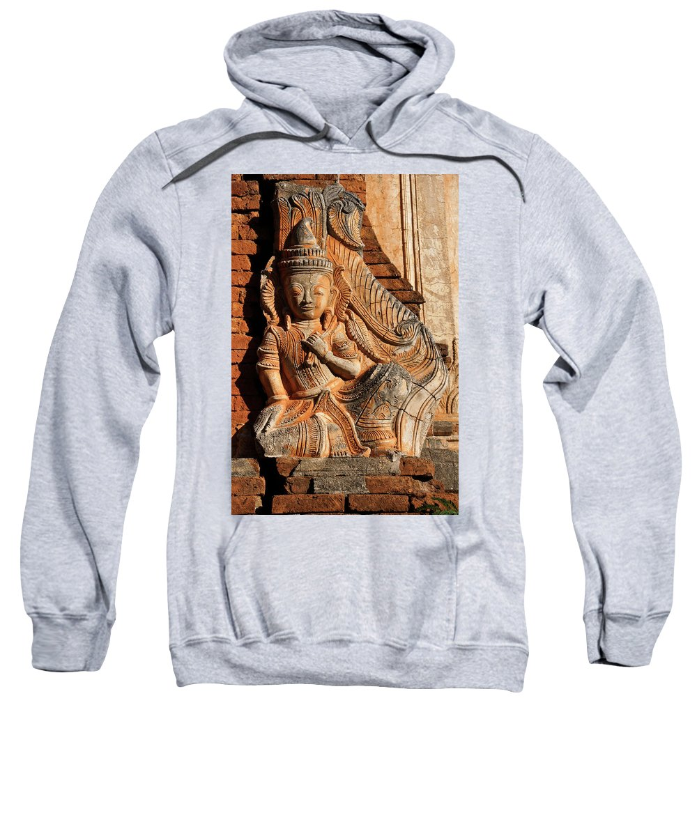 Asia Sweatshirt featuring the photograph Burmese Pagoda Sculpture by Michele Burgess