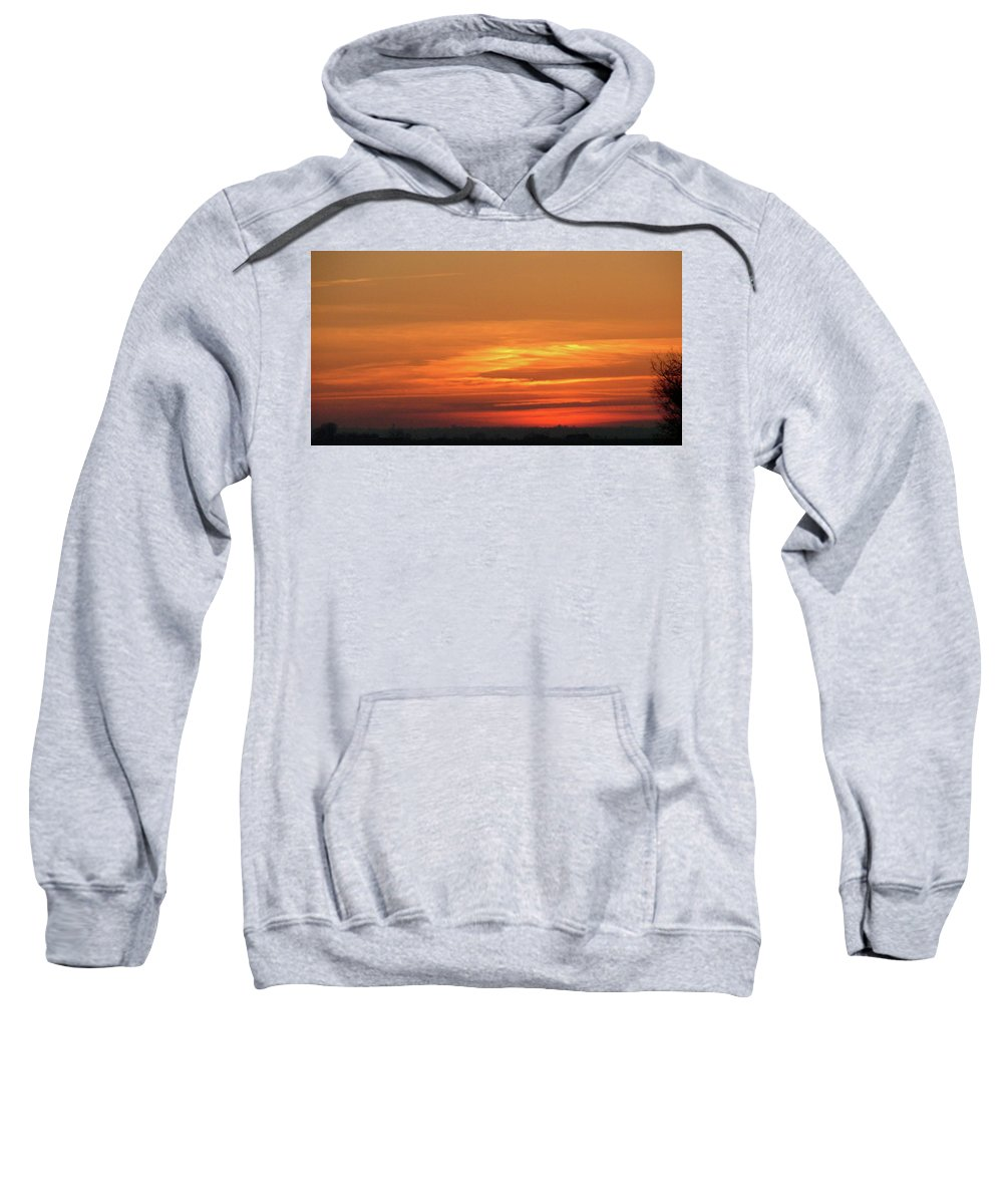 Sky Sweatshirt featuring the painting Burning Sunset by Dawn Blair