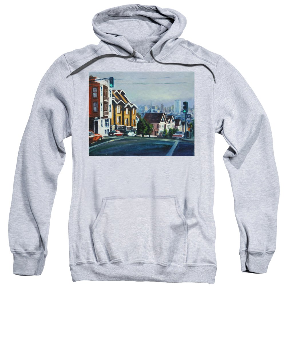 Cityscape Sweatshirt featuring the painting Bush Street by Rick Nederlof