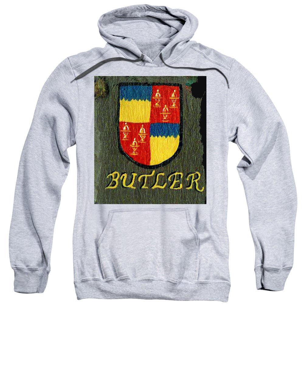 Butler Sweatshirt featuring the painting Butler Family Shield by Barbara McDevitt