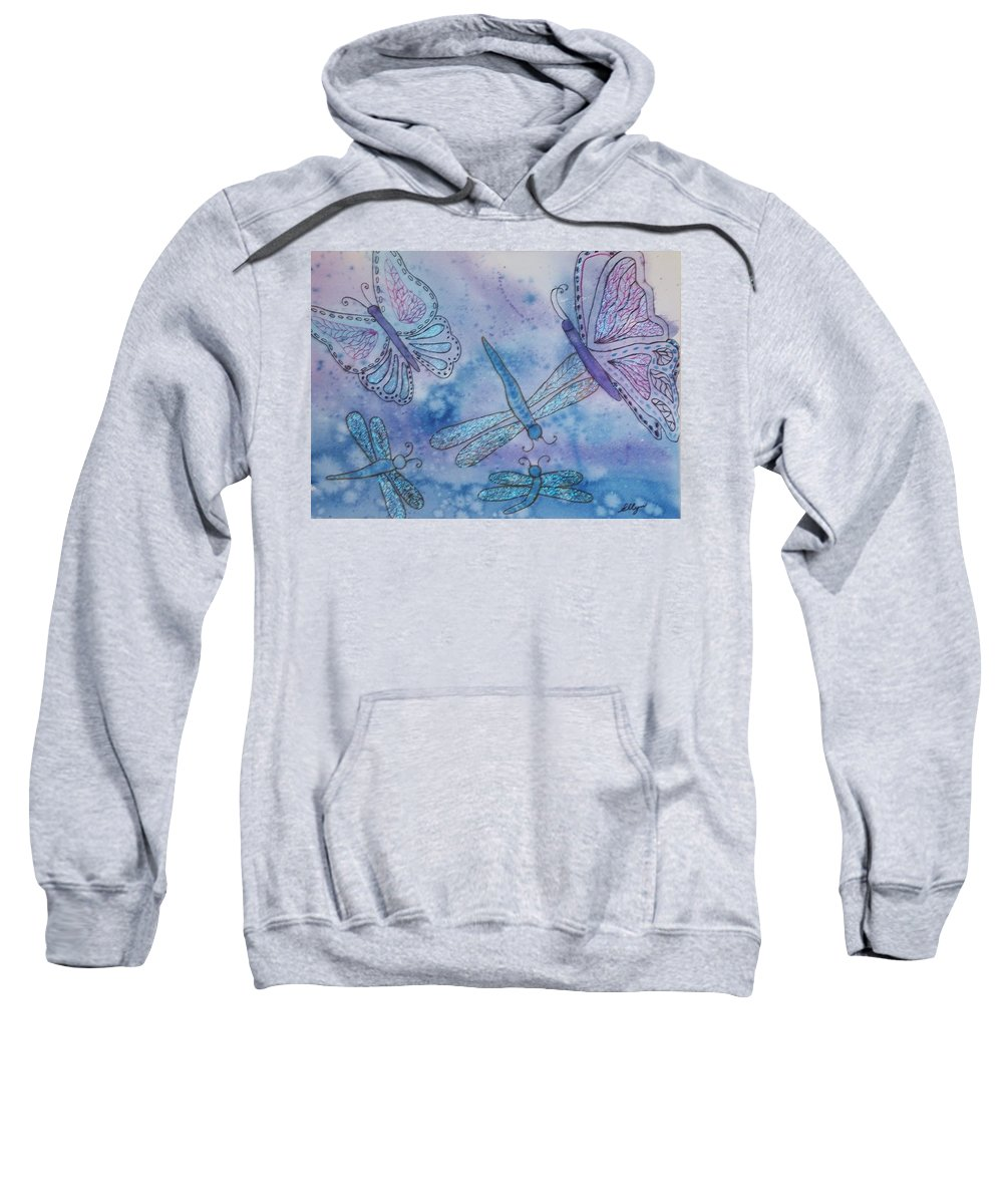 Butterflies Sweatshirt featuring the painting Butterflies And Dragonflies by Ellen Levinson