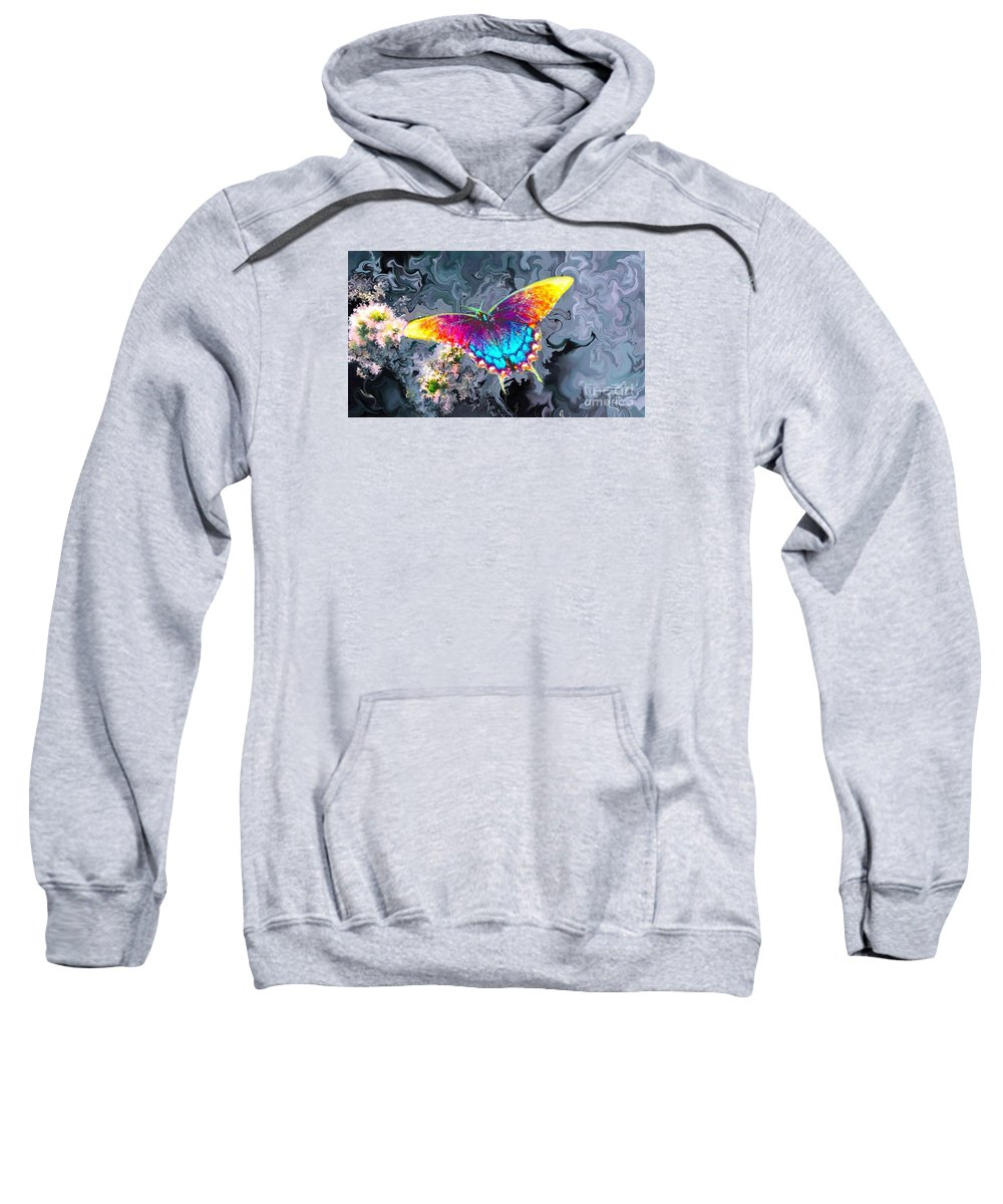 Butterfly Sweatshirt featuring the painting Butterfly - by Alexander Del Rey