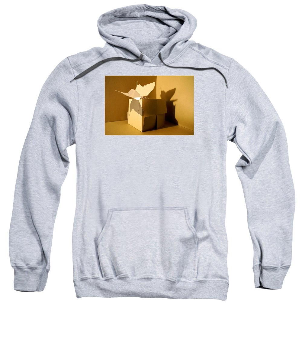 Butterfly Sweatshirt featuring the sculpture Butterfly And The Cube 1 by Mr ROBOMAN
