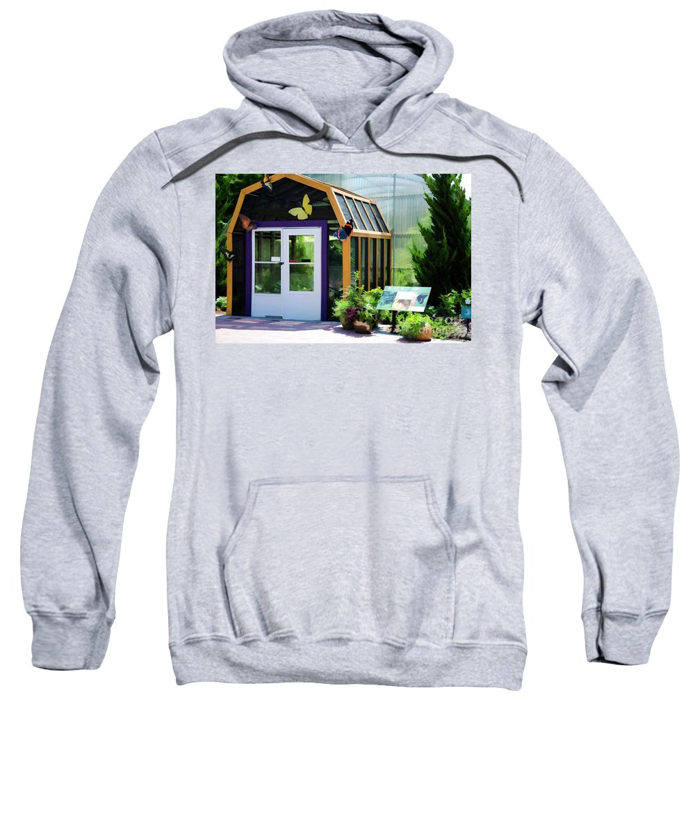 Architecture Sweatshirt featuring the painting Butterfly House 3 by Jeelan Clark