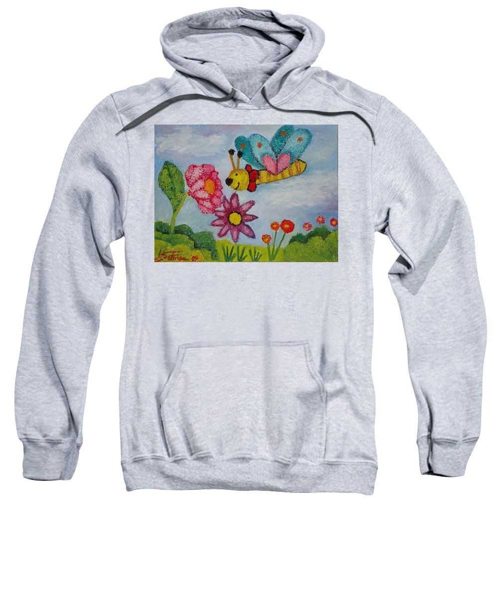 Landscape Sweatshirt featuring the painting Butterfly In The Field by Ioulia Sotiriou