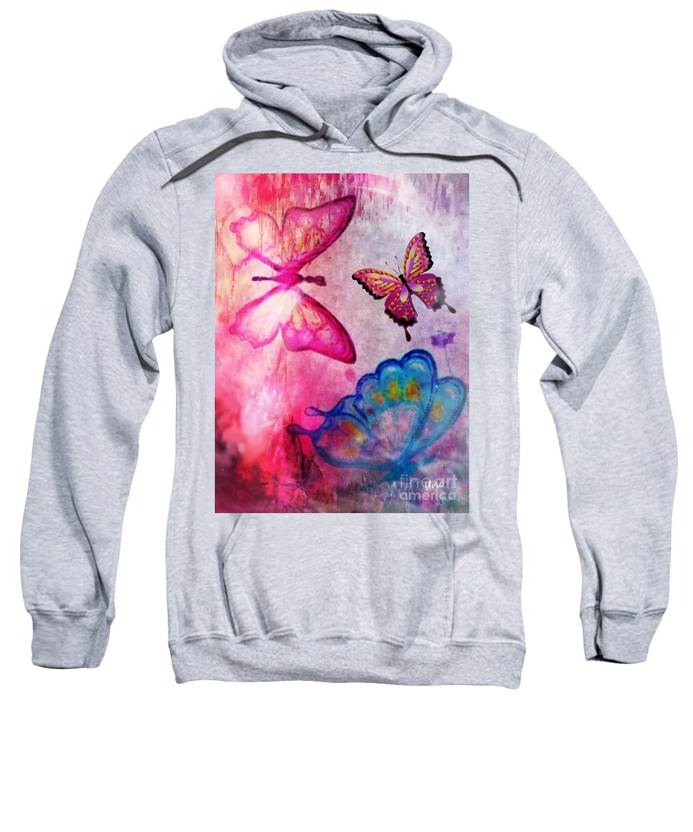 Butterfly Jam Sweatshirt featuring the digital art Butterfly Jam by Maria Urso