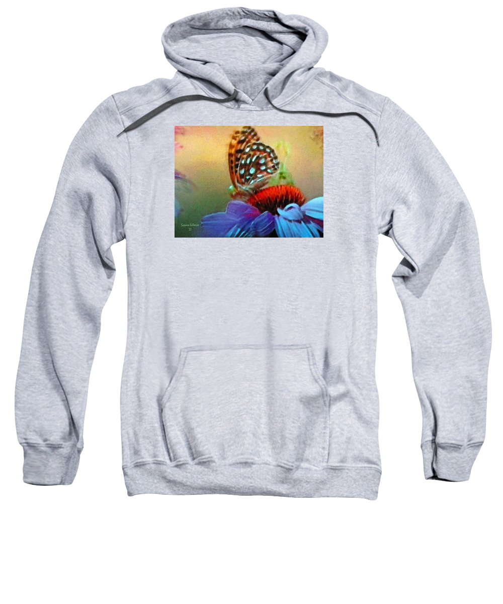 Butterfly Sweatshirt featuring the painting Butterfly On A Flower by Susanna Katherine