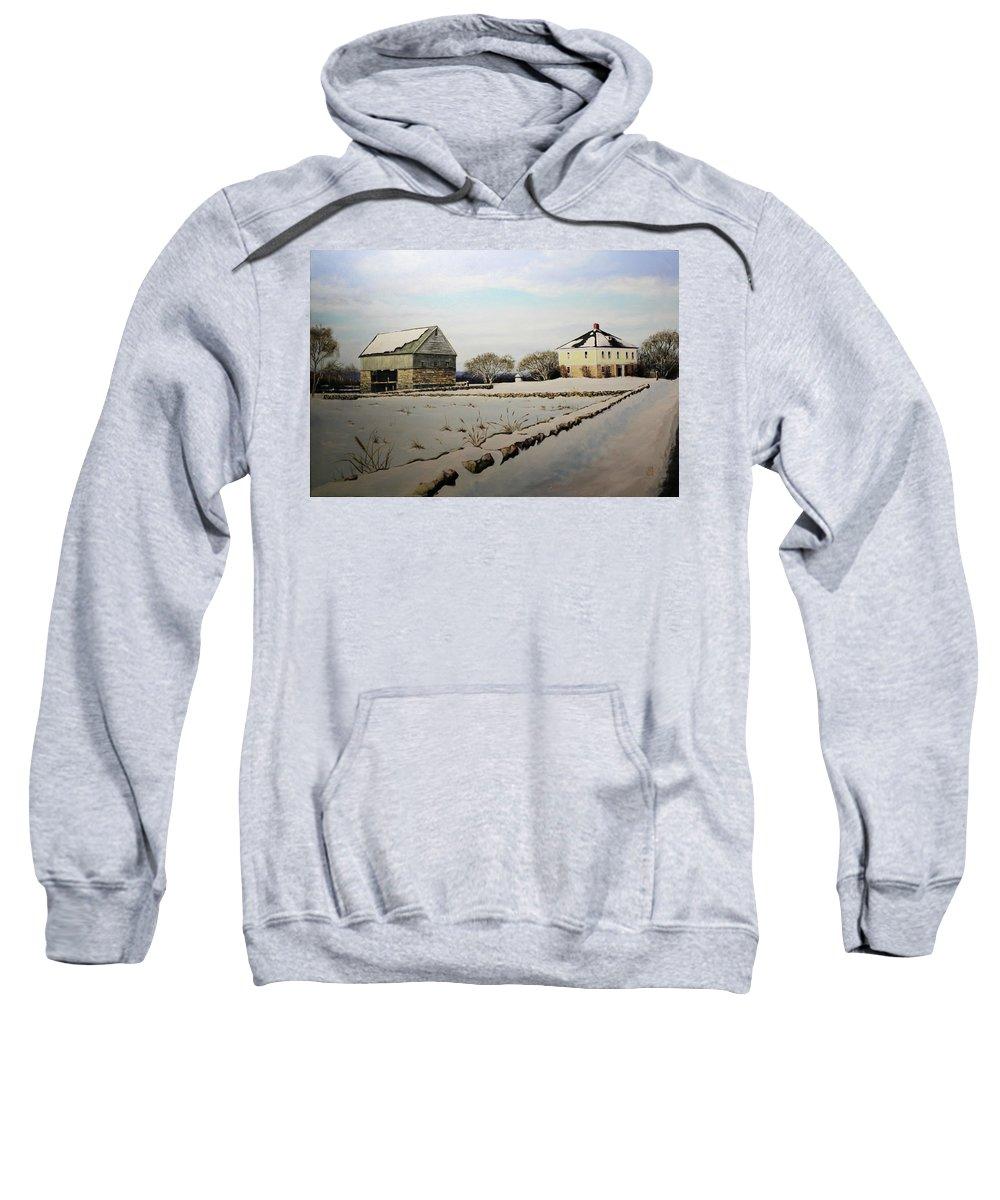 Farm Sweatshirt featuring the painting Buttonwood Farms by Jon Quinn