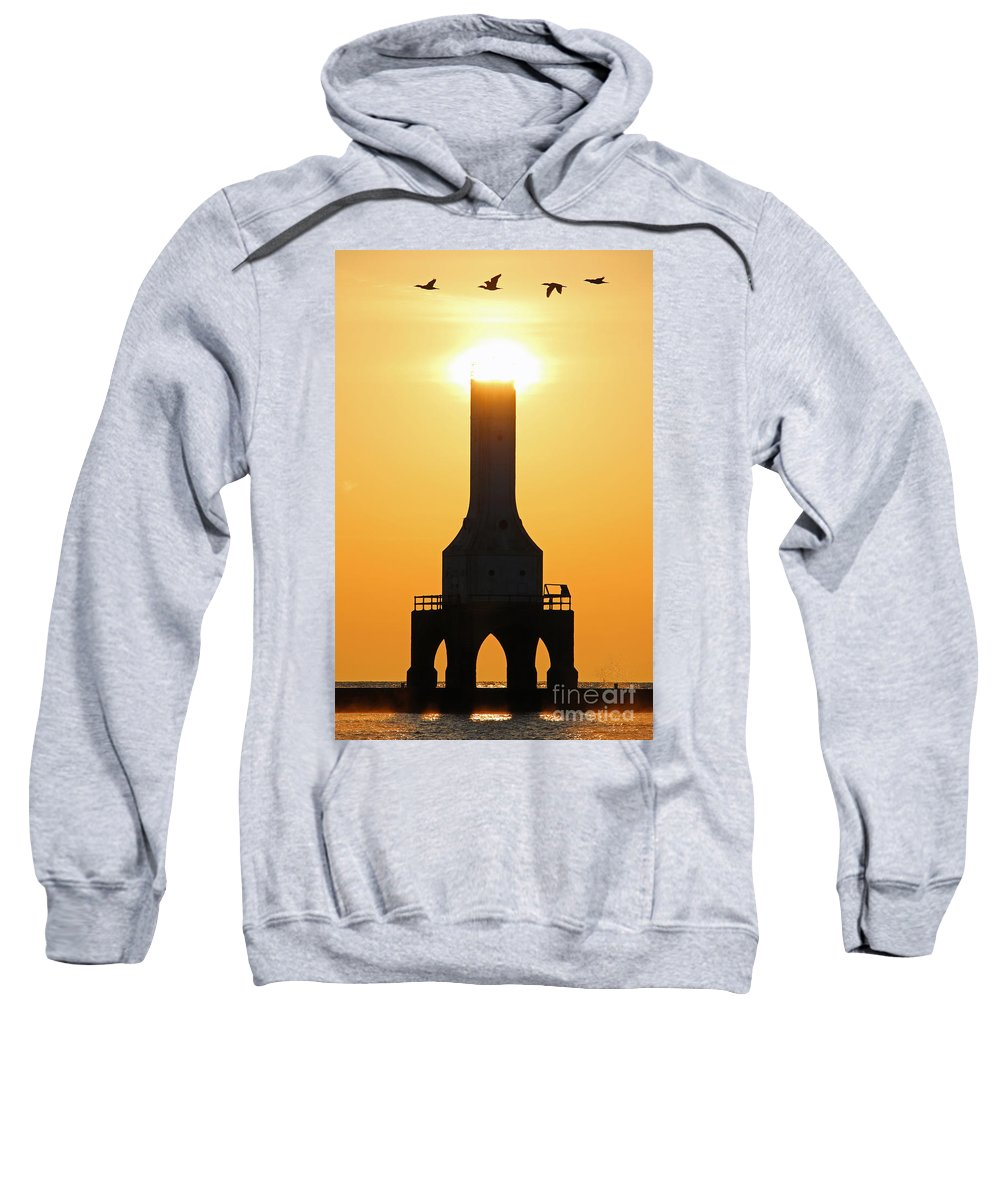 Lighthouse Sweatshirt featuring the photograph Buzzing The Tower by Eric Curtin