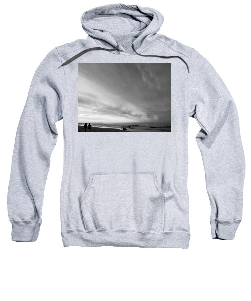 Minimal Sweatshirt featuring the photograph Bw Beach by Jennifer Baulch
