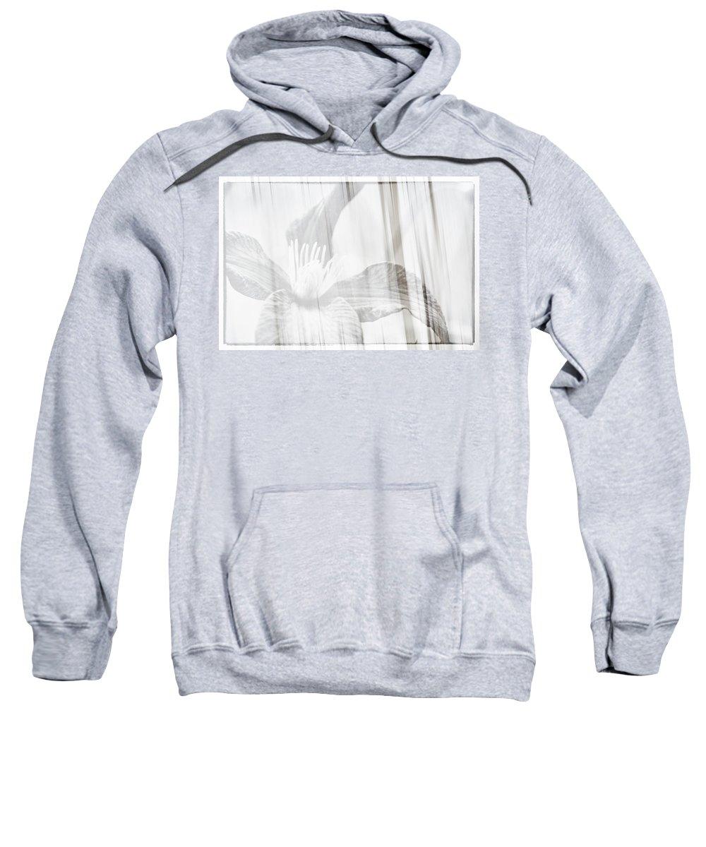 Clematis Sweatshirt featuring the photograph Bw Clematis by Savanah Plank