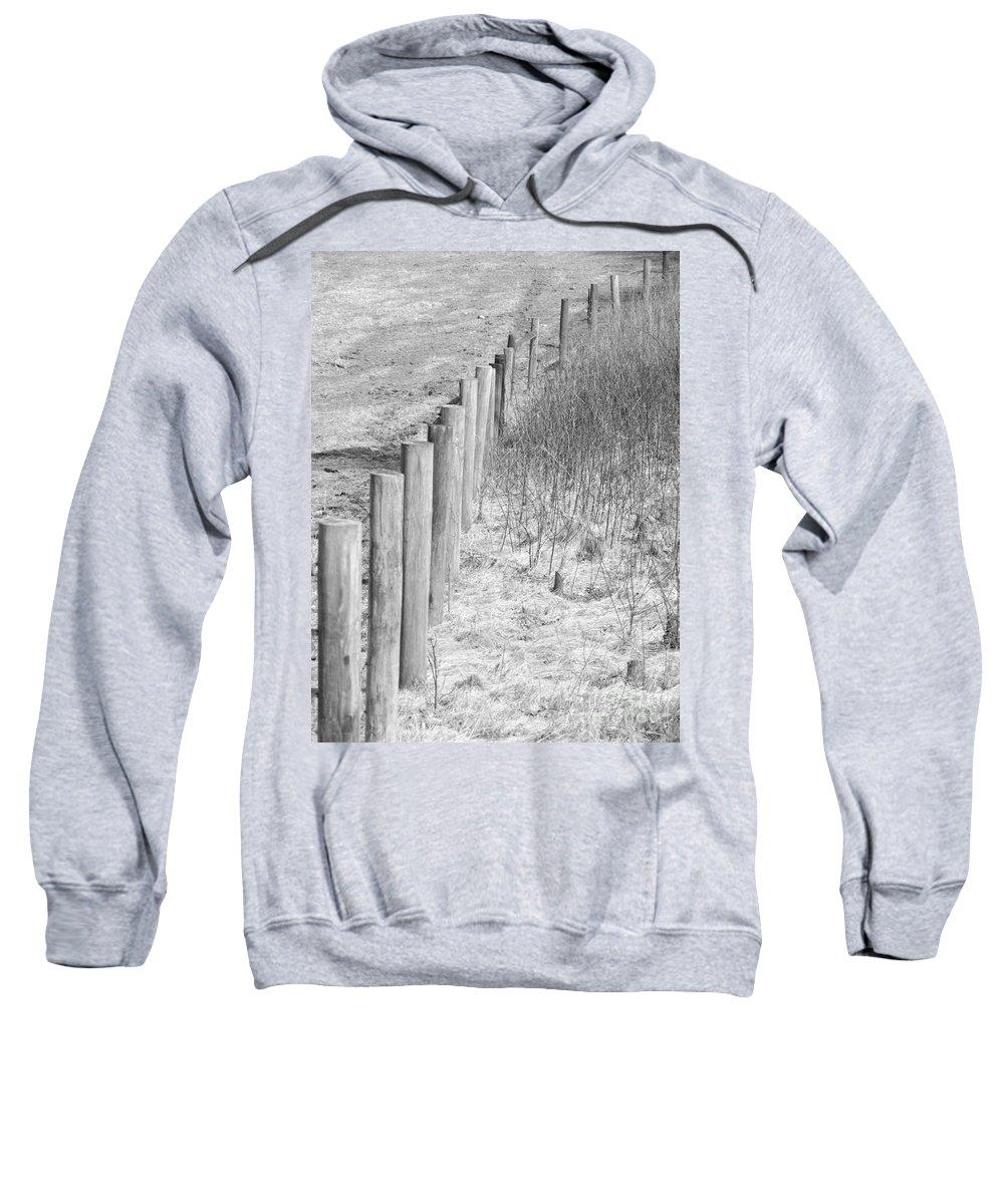 Farm Sweatshirt featuring the photograph Bw Fence Line by Erick Schmidt