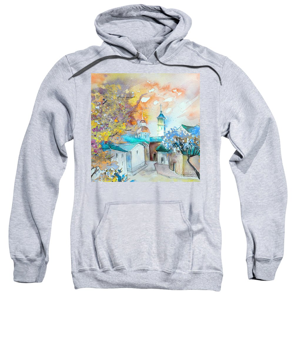 Watercolour Travel Painting Of A Village By Teruel In Spain Sweatshirt featuring the painting By Teruel Spain 03 by Miki De Goodaboom