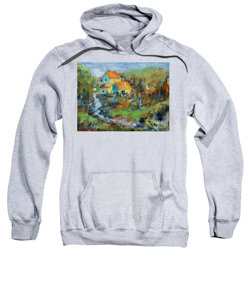 Countryside Sweatshirt featuring the painting By The River by Aline Halle-Gilbert