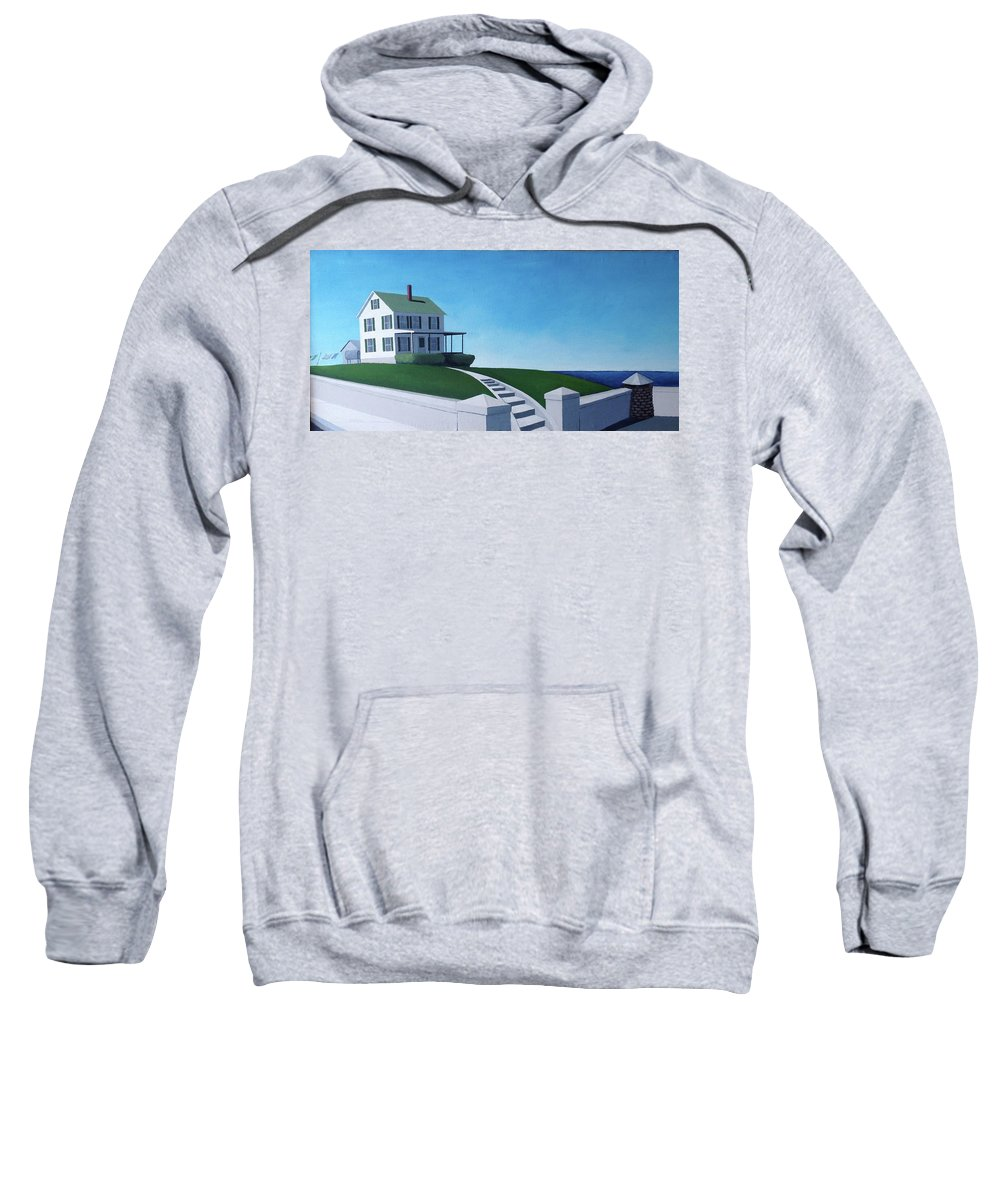 Landscape With Sea Sweatshirt featuring the painting A House By The Sea by Thomas Kever