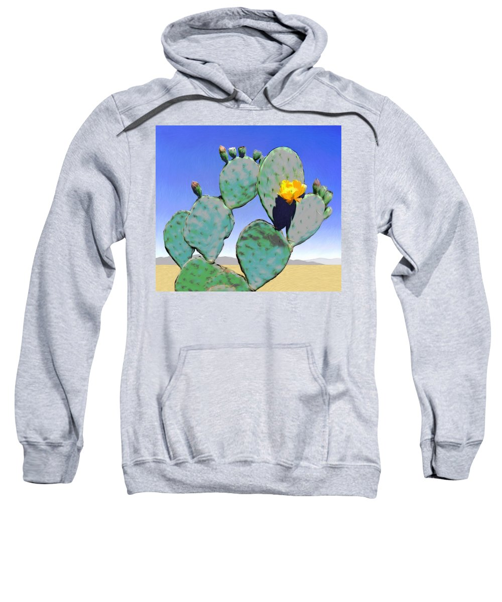 Cactus Sweatshirt featuring the digital art Cactus Flower by Snake Jagger