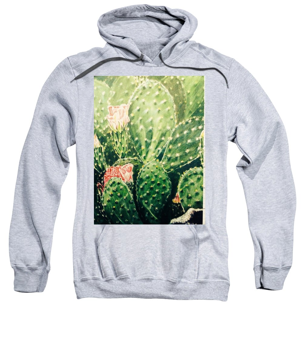 Cacti Sweatshirt featuring the painting Cactus In Blossom by Carlaj Sanders
