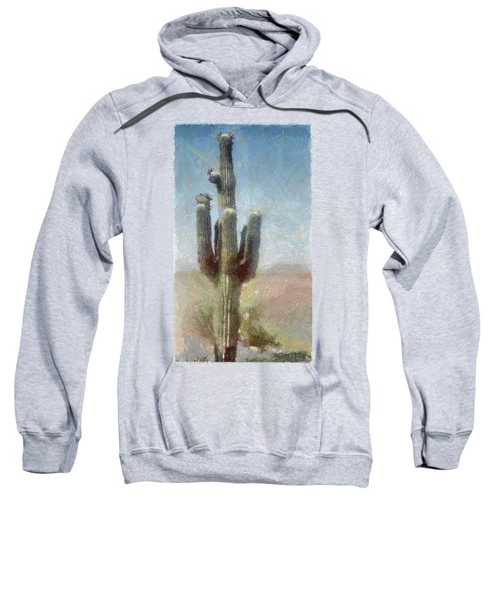 Phoenix Sweatshirt featuring the painting Cactus by Jeffrey Kolker