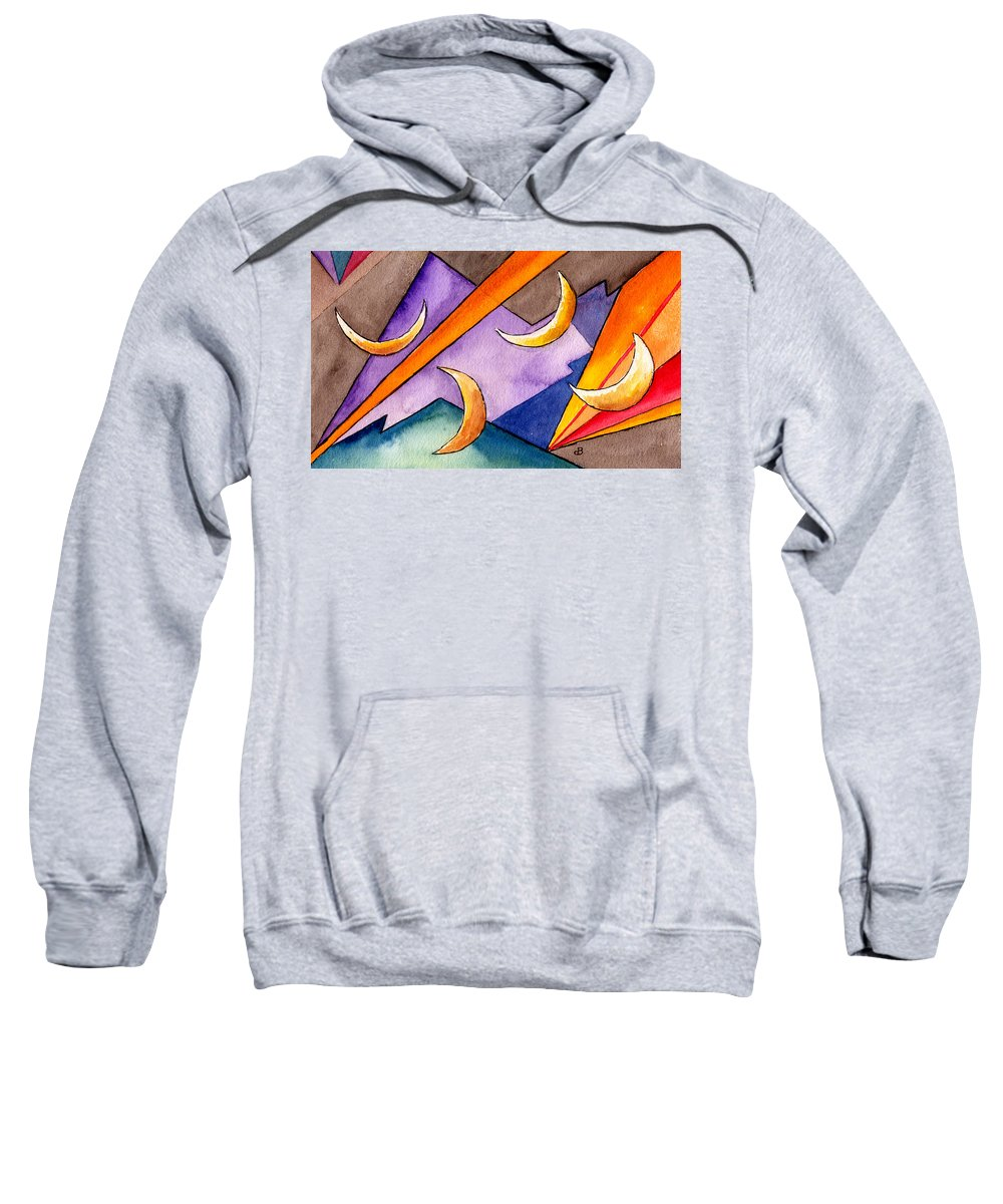 Watercolor Abstract Orange Purple Grey Moon Moons Design Fantasy Surreal Sweatshirt featuring the painting Cadence by Brenda Owen