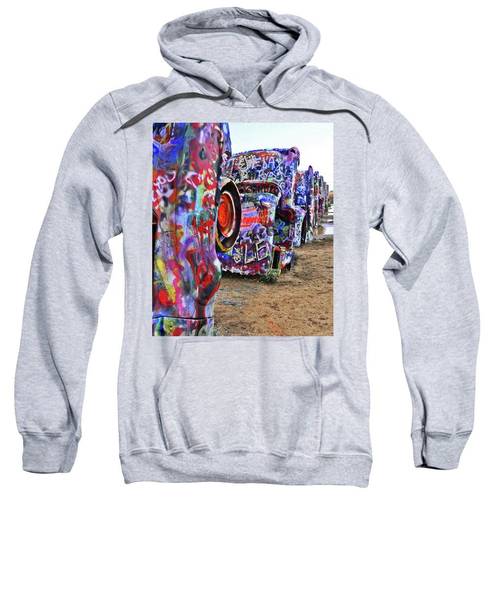 Cars Sweatshirt featuring the photograph Cadillac Ranch by Angela Wright
