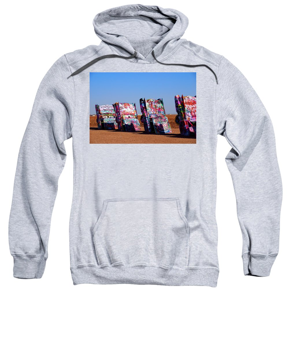 Photography Sweatshirt featuring the photograph Cadillac Ranch by Susanne Van Hulst