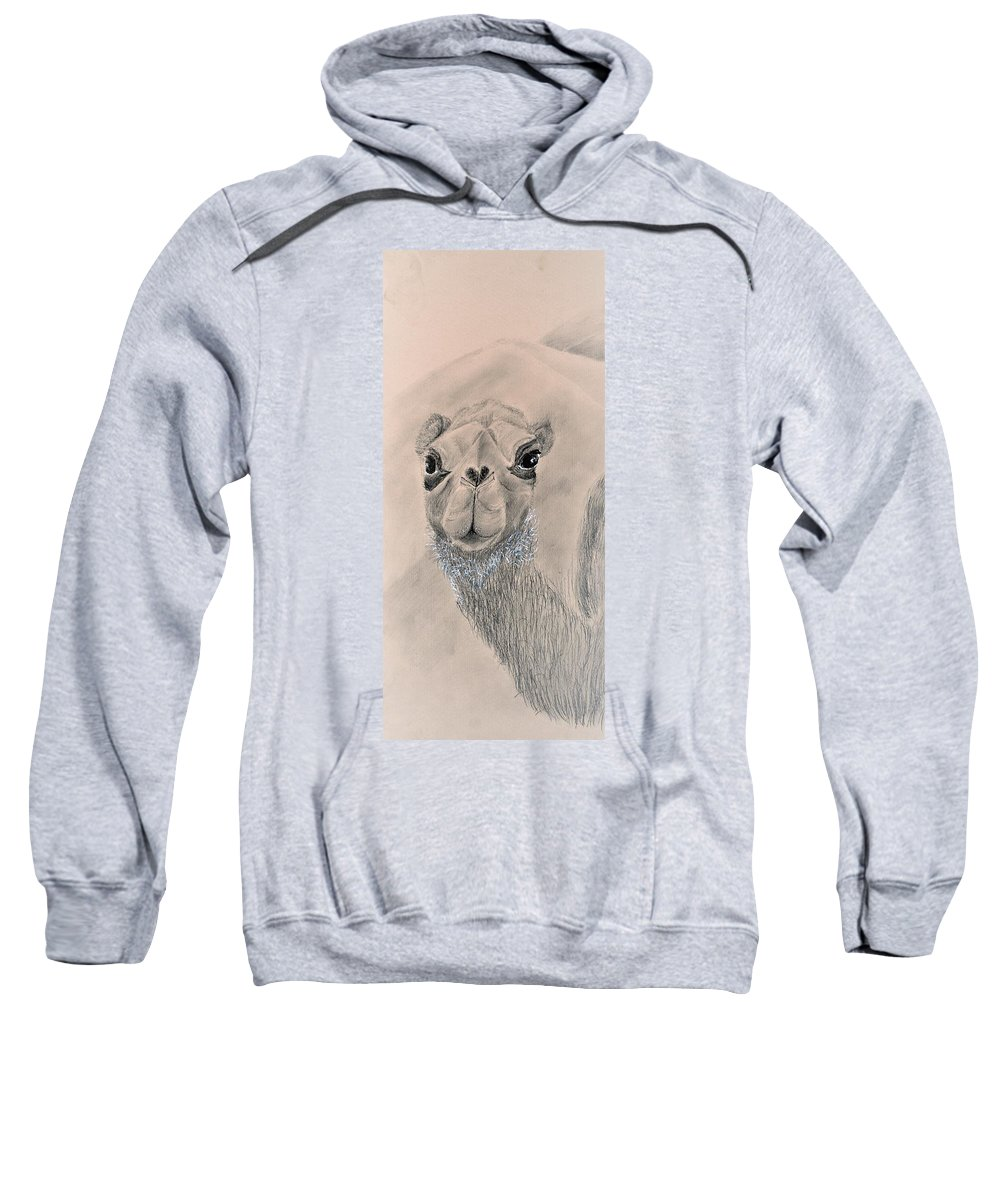 Camel Sweatshirt featuring the drawing Camel by Medea Ioseliani
