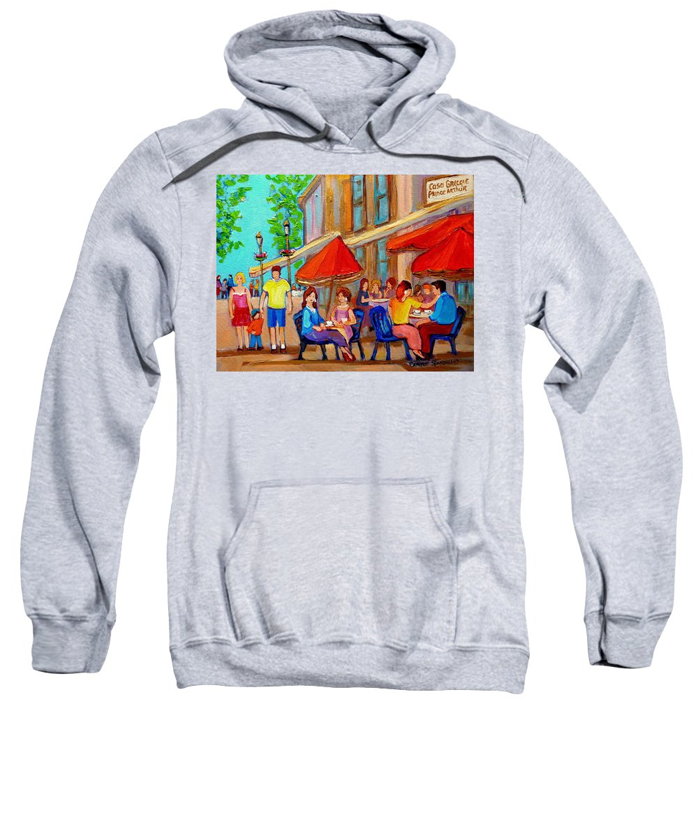 Cafescene Sweatshirt featuring the painting Cafe Casa Grecque Prince Arthur by Carole Spandau