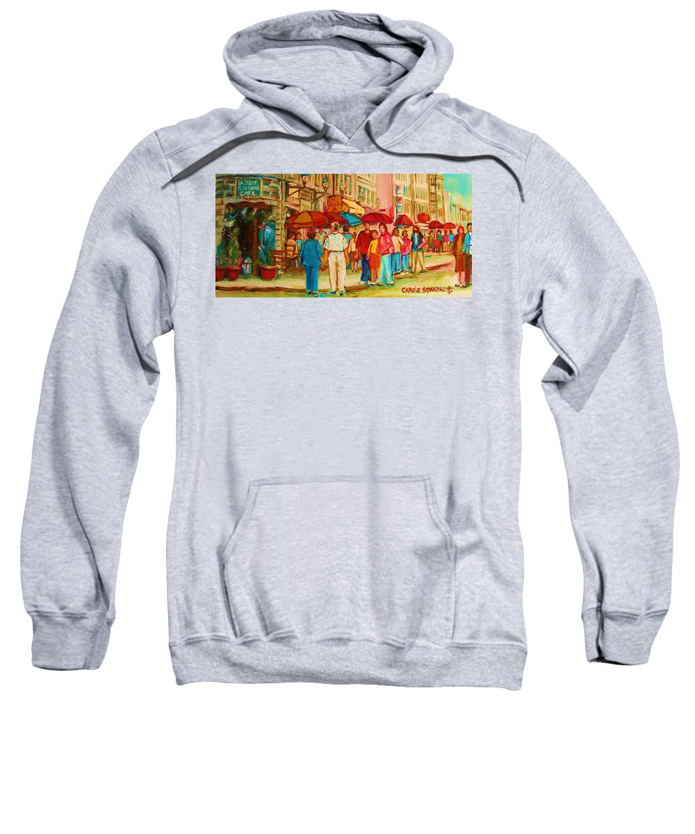 Cafe Scenes Sweatshirt featuring the painting Cafe Crowds by Carole Spandau